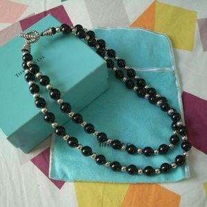 Tiffany & Co. sterling onyx beaded choker necklace